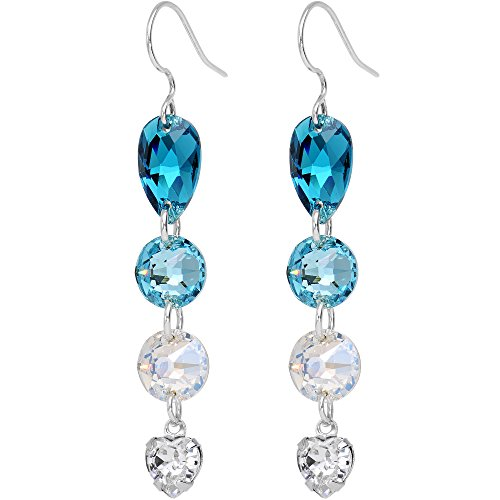Body Candy Handcrafted Blue to Clear Gradient Dangle Earrings Created with Swarovski Crystals