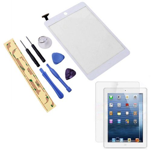 "Hde Ipad Mini 7.9"" Digitzer Touch Screen Replacement Parts W/ 7-Piece Tool Kit, Adhesive Tape, & Screen Protector (White)"