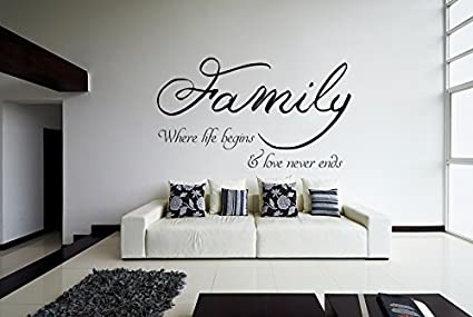 200 x 117 cm famille sticker mural citation la famille adh sif for Autocollant mural texte