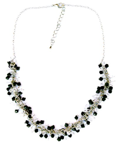 Jodie Rose Black Colour Crystal Cluster Necklet
