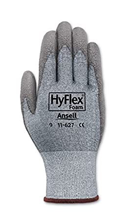 Ansell HyFlex 11-627 Lycra Light Duty Safety Glove with DSM Dyneema Technology, Abrasion/Cut Resistant, Size 10, Gray (Pack of 12 Pair)