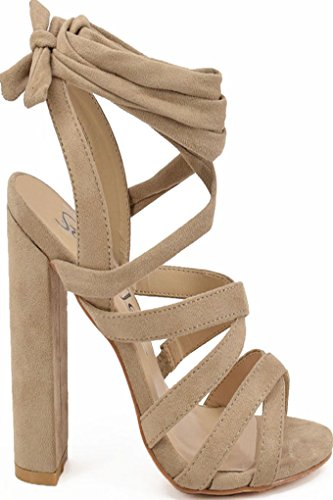 MACHI SUEDE MATERIAL LACEs CHUNKY OPEN TOE HIGH HEELS 8 nude