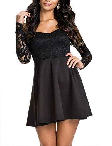 NuoReel-Womens-Lace-Bodice-Skater-Dress-Large-black