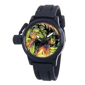 Marvel Comics Men's MA0707-D460-BlackRubber 'Hulk' Crown Protector Watch