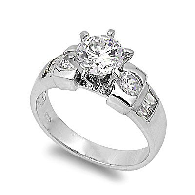 Sterling Silver Wedding Ring Set Ring with Prong Round Clear CZ Stones - Size 8