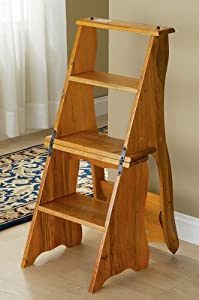 step stool chair wood