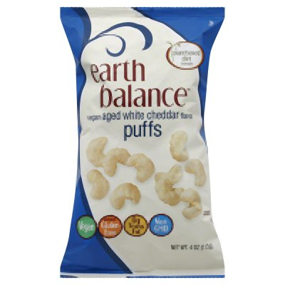 Earth Balance Vegan Aged White Cheddar Flavor Original Puffs (Gluten Free And Dairy Free) Buy Twelve Bags And Save Each Bag Is 4 Ounces (Pack Of 12)