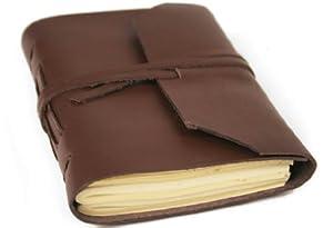 Indra Braun Handgemachtes Notizbuch aus Leder, Seiten aus 100% Baumwolle, inklusive Geschenktasche a (9cm x 13cm), 05360