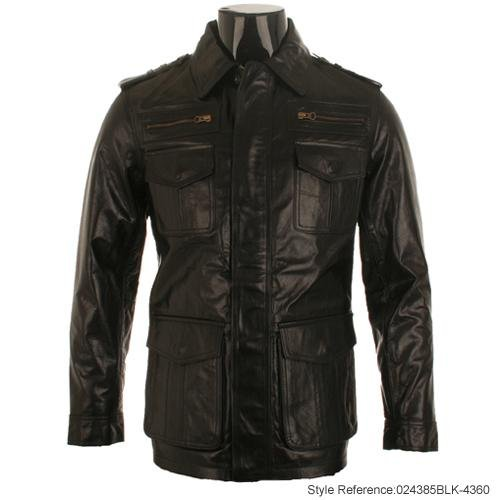 Mens Black Mid Length Leather Hunter Jacket M5B Size Medium