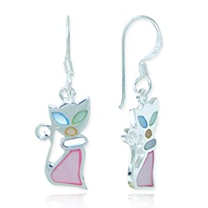 925 Sterling Silver Multi-Colored Mother of Pearl Shell Cat Dangle Hook Earrings Fashion Jewelry for Women, Teens and Girls - Nickel Free by Chuvora