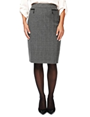M&S Collection Knee Length Checked Pencil Skirt