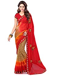 Sourbh Saree Lace Work Red And Beige Chiffon Must Have Best Sarees For Women Party Wear, Special Karwa Chauth...