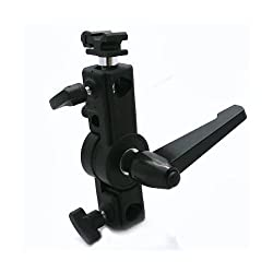ePhoto C Bracket Deluxe Adjustable Hot Shoe Flash Mounting Bracket with Swivel Umbrella Mount for most Speedlights and Camera Flashes