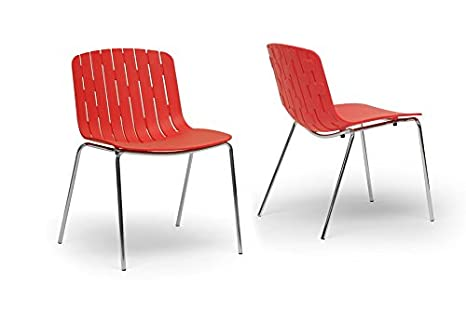 Florissa Red Plastic Modern Dining Chair with Chanasya Polish Cloth Bundle (Set of Two)