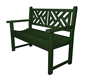 Polywood Outdoor Furniture Chippendale 48 Inch Bench Green Recycled Plastic