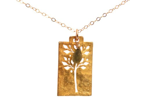 Gold Vermeil Hammered Rectangle Tree of Life Cutout Necklace with Green Garnet
