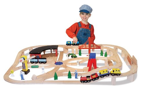 Melissa  &  Doug Deluxe Wooden Railway Set (over 130 pieces)