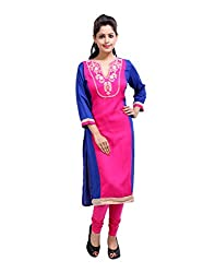 Traditional Pink Kurti Cotton Embroidered Floral Medium For Womens By Rajrang