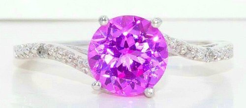 Created Pink Sapphire & Diamond Round Ring .925 Sterling Silver Rhodium Finish (Elizabeth Jewelry Inc Sapphire compare prices)