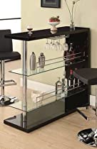 Hot Sale Coaster Bar Table with Two Glass Shelves in Gloss Black Finish
