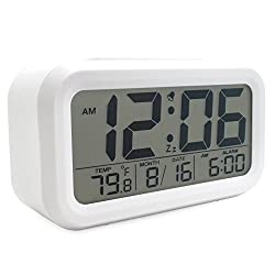 JCC Smart Light Sensor Automaticm Soft Light Large Numbers LCD Display Bedside Desk Digital Snooze Alarm Clock with Ascending Wake Up Alarm, Snooze Function, Date and Temperature Display (°C/°F) , Battery Operated (White)