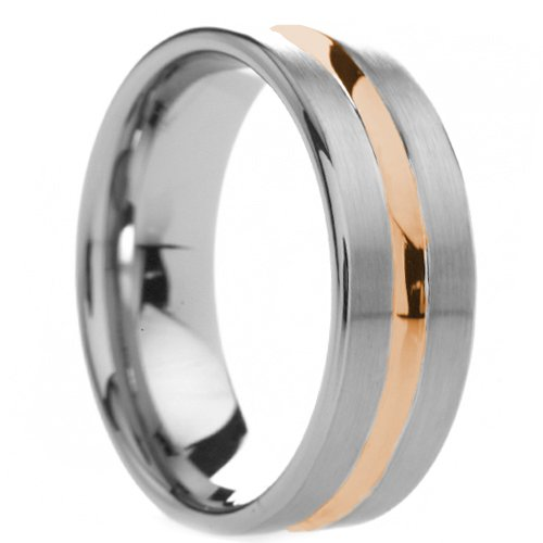 8 mm Mens Tungsten Carbide Rings Wedding Bands Rose Gold Plated Groove   Free Engraving,  & Lifetime Warranty   Size 6, 6.5, 7, 7.5, 8, 8.5, 9, 9.5, 10, 10.5, 11, 11.5, 12, 12.5, 13, 13.5
