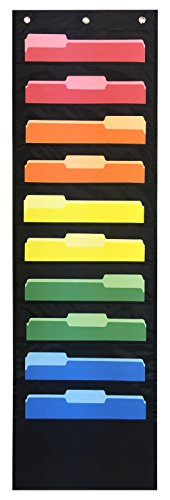 Essex Wares - Storage Pocket Chart / Ten Pocket Hanging Wall File - Perfect for Organizing Your Classroom, School, Office, Business and Home (Black)