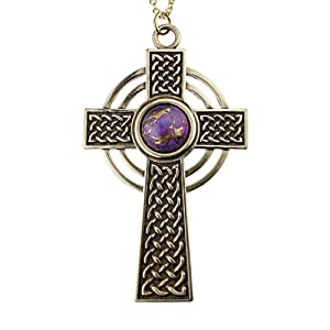 Large Celtic Cross with 12mm Persian Purple Copper Turquoise Gemstone on 18