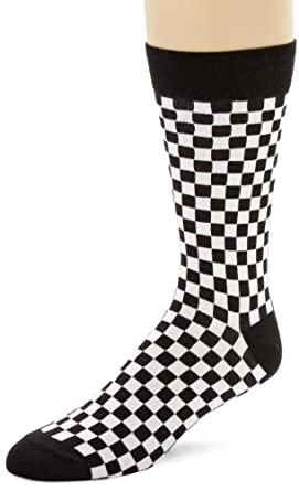 K. Bell Socks Men's Checkerboard Socks, Black/White, 10-13