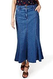 Per Una Cotton Rich Panelled Denim Skirt