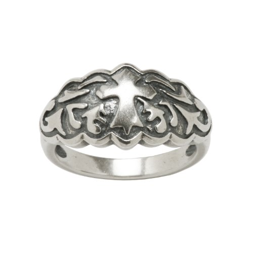 Sterling Silver Celtic Ring with Cross, Size 7