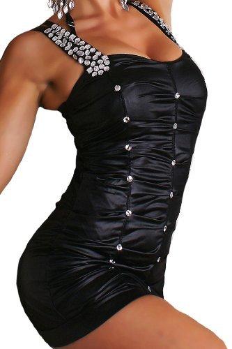 erdbeerloft - Stepp Optik Stretch Minikleid, Lack mit Strassbesatz Größe 36/38, schwarz