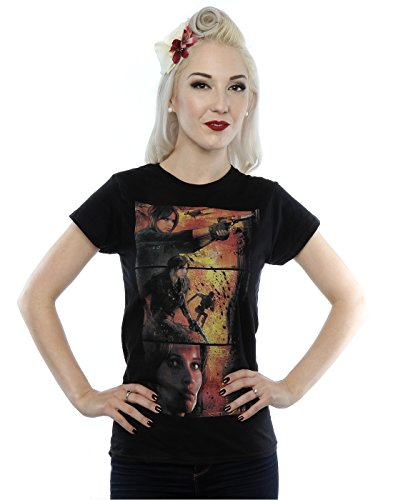Star Wars Donna Rogue One Jyn Comic Strip Maglietta X-Small Nero