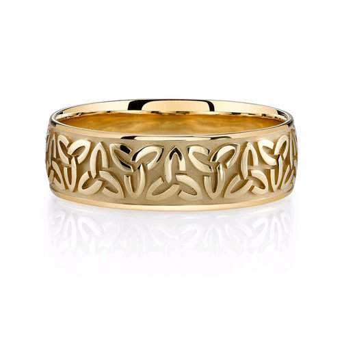 Celtic Trinity Knot Wedding Band In 14K Yellow Gold - Size 12