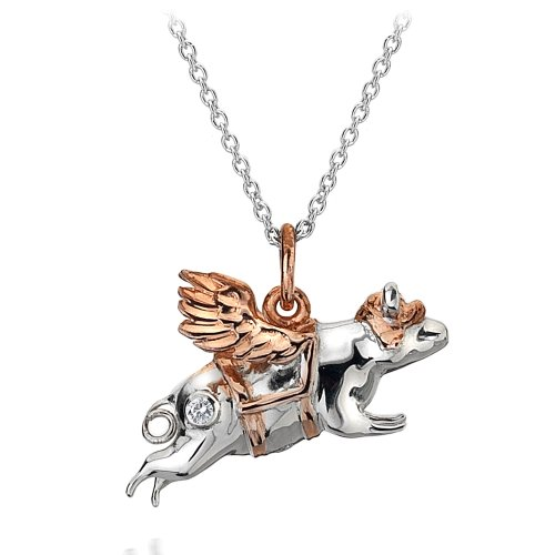 Hot Diamonds Chops Away Silver and 18ct Rose Gold Vermeil Pendant of 46cm