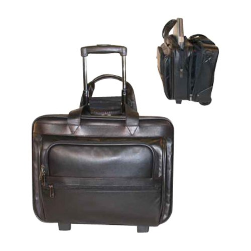 STEBCO 351711BLK Leather Laptop Computer-Business Case on Wheels