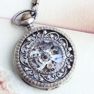 機械式手巻懐中時計ネックレス 透かし星型モチーフ ペンダントウォッチ