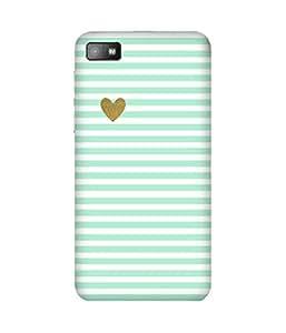 Green Stripes Golden Heart BlackBerry Z10 Printed Back Cover