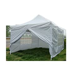 NEW WATERPROOF 3M X 4.5M POP UP TENT GAZEBO MARQUEE PARTY TENT CANOPY+ 4 SIDES (SILVER)