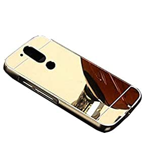 Novo Style Luxury Shiny Bling Glitter Metal Clear Aluminum Frame Cover Ultra Thin Slim Bumper Hard Back Case Cover For Moto G Plus 4th Gen (G4 - 4th Generation - Golden