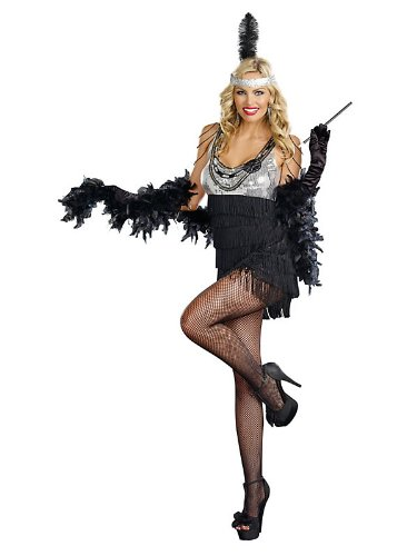 Razzmatazz Silver Sequin and Black Fringe Flapper Sexy Adult Costume