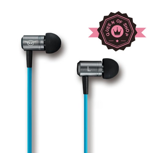 Queen Iv3 Blue Headphone Company High Performance In-Ear Headphones With Built-In Microphone - Retail Packaging - Pink