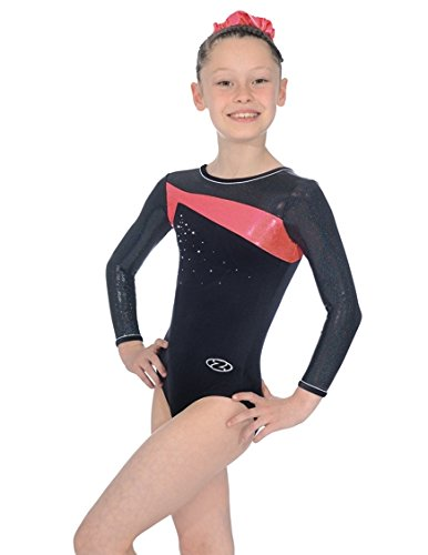 the-zone-z338-icon-long-sleeve-jewel-motif-leotard-black-hot-coral-size-32