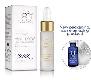 180 Cosmetics Pure Swiss, Hyaluronic Acid Serum + Vitamin C - No Needles Needed & Highest Concentration of Hyaluronic Acid Skincare Line - Designed to Fill Fine Lines & Wrinkles to Plump Smooth & Hydrate For Younger Looking Skin. Anti Aging - Anti Wrinkle - Instant Lift Solution - Strengthen- Face Lift - Tone - Rejuvenate - Facelift