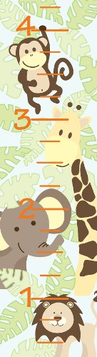 Brewster WPG98854 Wall Pops for Baby Peel and Stick Jungle Friends Growth Chart