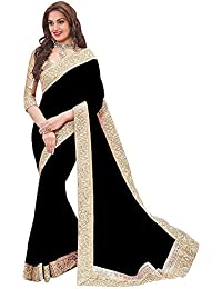 Onlinehub Women'S Georgette Saree With Blouse Piece (Onlinehubblackpattawithhandwork(Dv)_Black)
