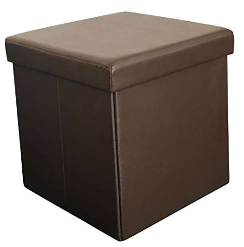 Sodyneear faux leather folding shoe storage ottoman cubes for Foot storage ottoman