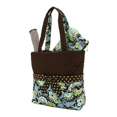 Belvah Quilted Floral 3 Piece Diaper Bag - Brown/Lime