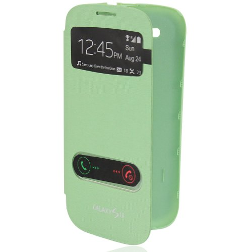 pay4save Brushed Slim S-VIEW Flip Case Battery Cover For Samsung GALAXY SIII S3 I9300 (Green)