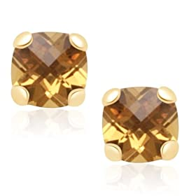 10k Yellow Gold Checker Board Cushion Cut Citrine Stud Earrings